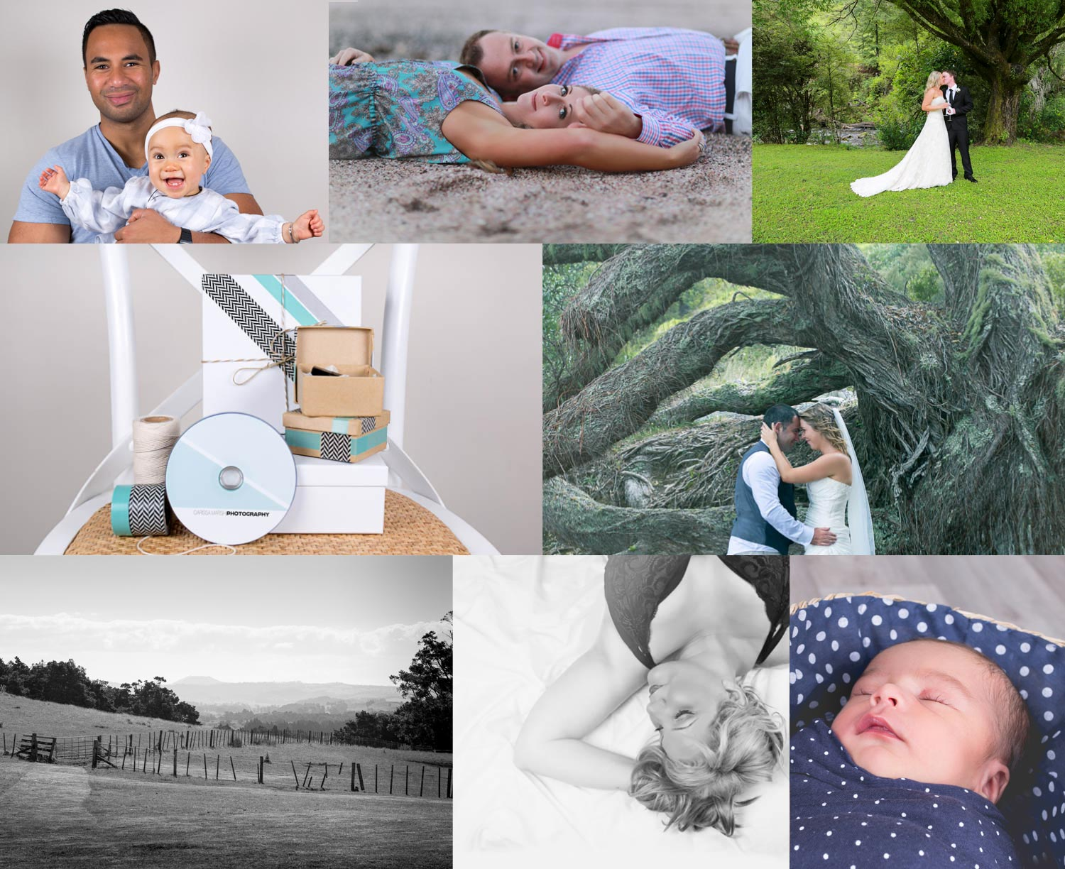 Montage of Wedding, Portrait and Product photographs